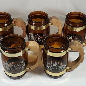 Vintage Souvenir Siesta Ware Mugs Lot of 5 Wooden